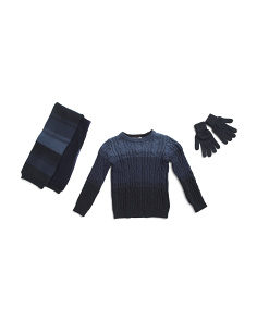 Toddler Boys 3pc Ombre Cable Sweater Scarf & Glove Set