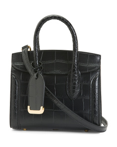 Made In Italy Leather Croc Embossed Heroine Mini 21 Satchel