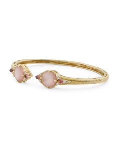 18k Gold Allure Diamond Pink Mother Of Pearl Open Bracelet