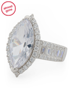 Sterling Silver Cz Marquise Baguette Ring