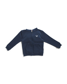 Little Boy Chenille Patch Zip Up Hoodie Sweatshirt