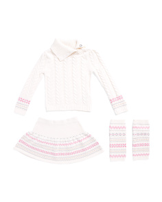 Toddler Girls 3pc Jacquard Sweater Skirt Set