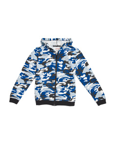 Big Boys Camo Zip Up Sweatshirt Hoodie