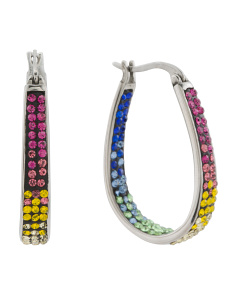 Rainbow Crystal Hoop Earrings