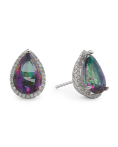 Sterling Silver Pear Shaped Rainbow Cz Halo Stud Earrings