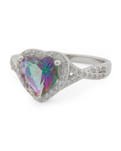 Sterling Silver Rainbow Cz Heart Ring