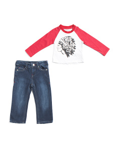 Toddler Boys 2pc Long Sleeve Baseball Tee And Denim Pants