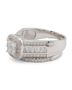 Sterling Silver Cz 2 Piece Ring Bridal Set