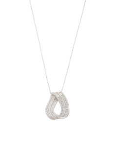 Sterling Silver Cz Baguette Twist Oval Necklace