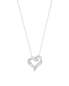 Sterling Silver Baguette Cz Open Heart Necklace