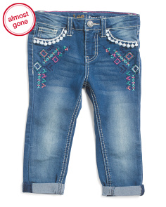 Toddler Girl Pom Pom Trim Cuffed  Jeans
