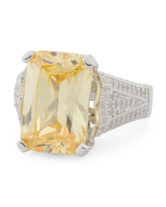 Sterling Silver Canary Cz Statement Ring