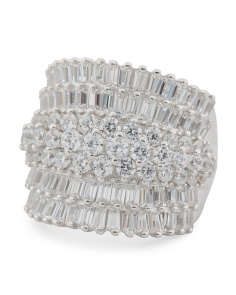Sterling Silver Cz Baguette Cocktail Ring