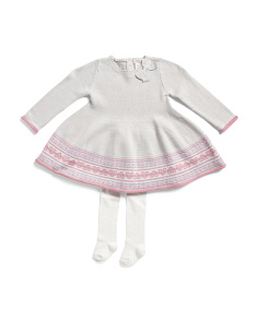 Infant Girls Heart Jacquard Swing Sweater Dress With Tights
