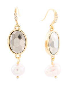 Gold Tone Pearl And Stone Drop Earrings