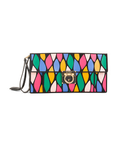 Made In Italy Calfskin Clutch With Patchwork
