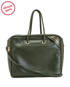 Made In Italy Double Handle Leather Shoulder Bag