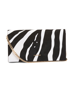 Made In Italy Zebra Suede Clutch