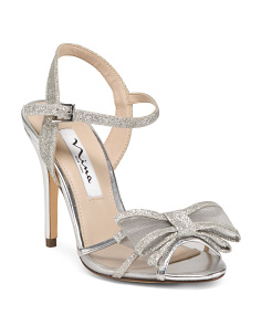 Glitter Evening Sandals With Bow