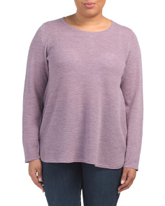 Plus Round Hi-lo Hem Merino Wool Sweater