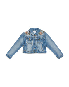 Big Girls Oversized Crop Stretch Denim Jacket