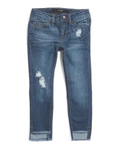 Little Girl Mid Rise Step Hem Ankle Jeans