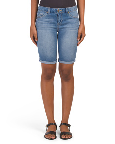 Denim Roll Cuff Bermuda Shorts