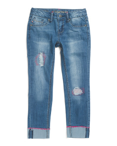 Big Girls Cuffed Destructed Skinny Ankle Jeans