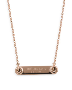 Logo Plaque Pendant Necklace In Rose Gold Tone