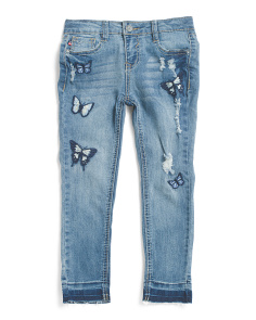 Little Girls Butterfly Skinny Jeans