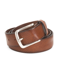 Made In Italy Leather Pindot Belt