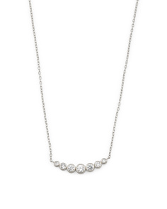 Crystals Linear Chain Necklace In Silver Tone
