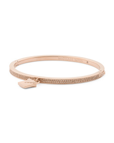 Padlock Charm Logo Pave Hinged Bangle Bracelet