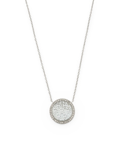 Patterned Logo Pendant Necklace With Pave Crystal Halo