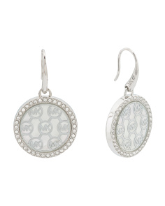 Patterned Logo Earrings With Pave Crystal Halo