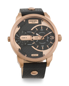 Men's Mini Daddy Bold Rose Gold Accent Leather Strap Watch