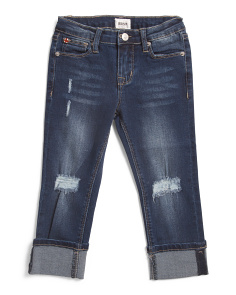 Little Girls Roll Cuff Cropped Skinny Jeans