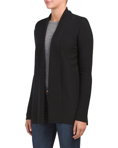Merino Wool Split Back Drape Neck Cardigan