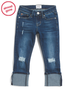 Big Girls Skinny Roll Cuff Crop Jeans