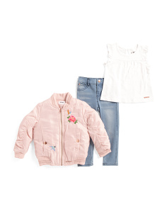 Toddler Girls 3pc Jacket Jersey Top & Stretch Jean Set