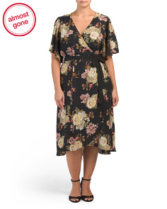 Plus Large Floral Wrap  Dress