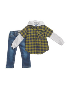 Toddler Boys 2pc Flannel Plaid 2fer Top & Jeans