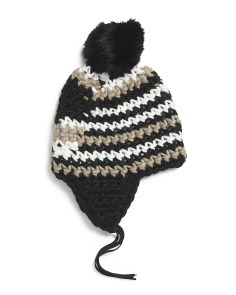 Wool Knit Hat With Ear Flaps And Pom