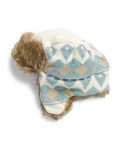Patterned Trapper With Faux Fur Lining