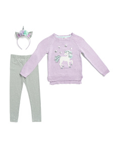 Little Girls Unicorn Sweater With Star Patterned Leggings