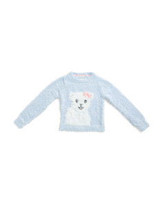 Little Girls Eyelash Polar Bear Sweater