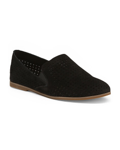 Perforated Pointy Toe Suede Flats