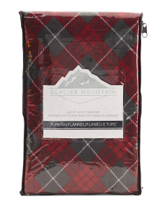 Fireplace Plaid Flannel Duvet Set