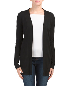 Ribbed Trim Wool Cardigan