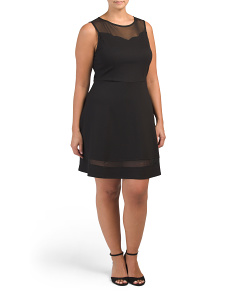 Plus Juniors Mesh Trim Skater Dress